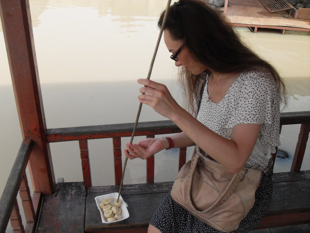 Feeding turtles in Ayutthaya