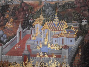 A scene from the Thai Ramakien, illustration at Wat Phra Kaew (photo taken by myself)