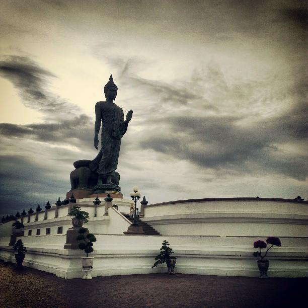 Walking Buddha performing the gesture of Dispelling Fear (photo credit: Siwaphong Pakdeetawan, Instagram @knack66)