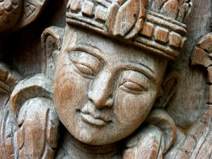 Peaceful head wood carving by Thawan Duchanee at Baan Dam (photo credit: Anandajoti Bhikkhu)