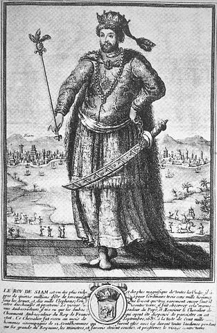 French depiction of King Narai, 18th century print. Reproduction in Les Missions Etrangeres Perrin, wikimedia.org