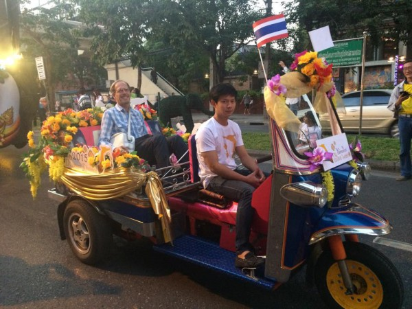 What could be more Thai than a farang in a Tuk-Tuk? (photo credit: Very Thai, FB page)