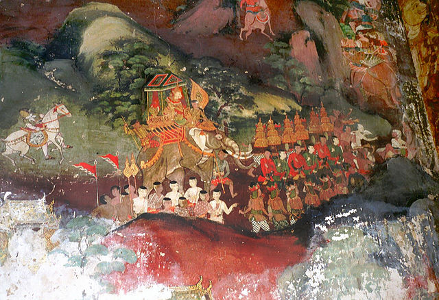 Mural of Vessantara Jataka, 19th century, Wat Suwannaram, Thonburi district, Bangkok,Thailand (photo Heinrich Damm, wikimedia.org