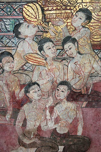 A scene from the Mahajanaka, Jataka tale, mural at Wat Yai, Chonburi*