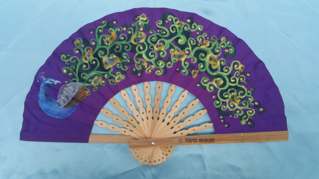 Fan with peacock illustration by Yasaman Haghighat