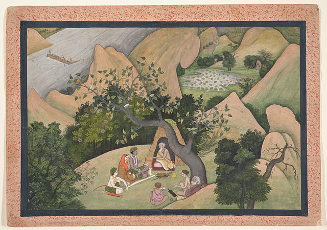 Rama, Sita, and Lakshmana at the Hermitage of Bharadvaja. Page from a dispersed Ramayana_(Story of King Rama),ca._1780, wikimedia.org