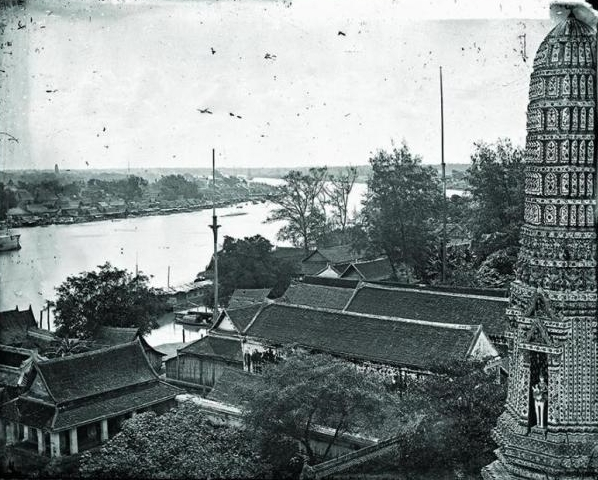 the chao phraya river as seen from the main spire of Wat Arun