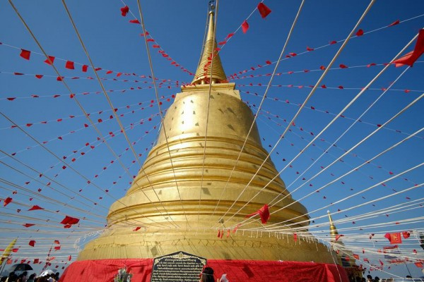 The golden chedi of the Golden Mountain Wat Saket in Bangkok