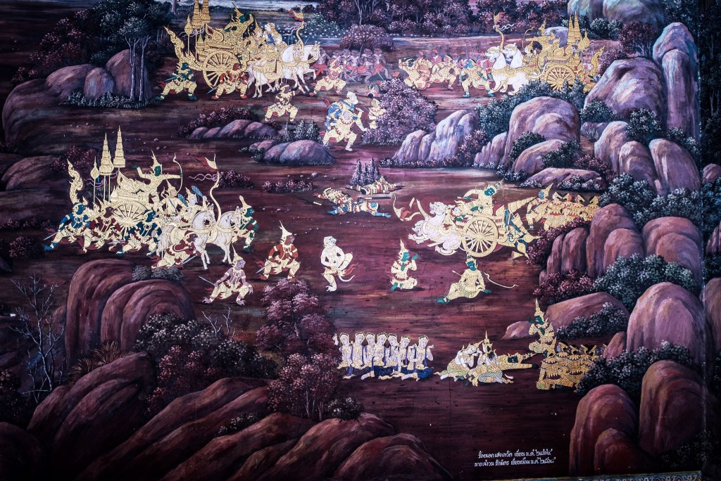 Scene from the Ramakien depicted on a mural at Wat Phra Kaew (Temple of the Emerald Buddha) (photo credit: Amporn Konglapumnuay)