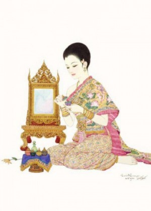 Thai beauty, painting by Chakrabhand Posayakrit