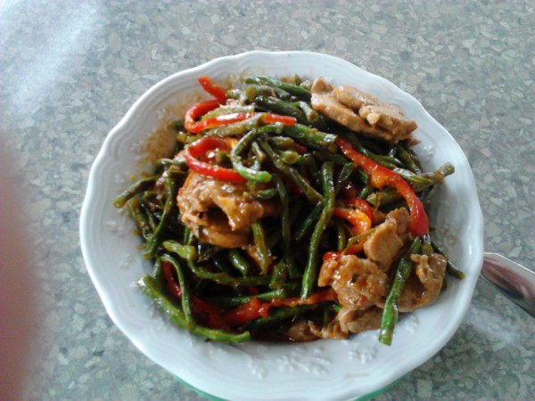 Thai red curry with long-beans and pork, Thai Pad Prik King