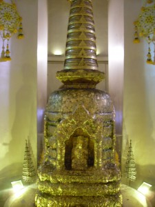A Buddha relic in the chedi of Wat Saket