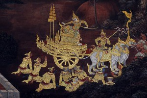 Scene from the Ramakien depicted on a mural at Wat Phra Kaew (Temple of the Emerald Buddha) (photo credit: Jpatokal, wikimedia.org)