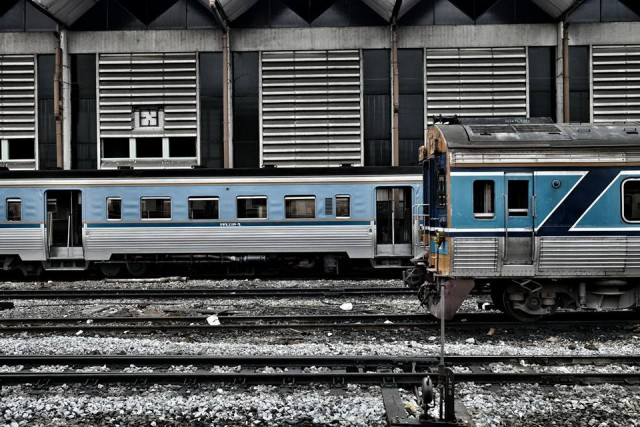 Thai classic train at Hua Lamphong Station*