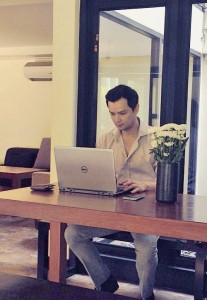 Michael at work in the business