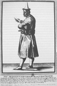 The Siamese ambassador Pan, 1686 French print. Reproduction in Three military accounts of the 1688 revolution in Siam, wikimedia.org