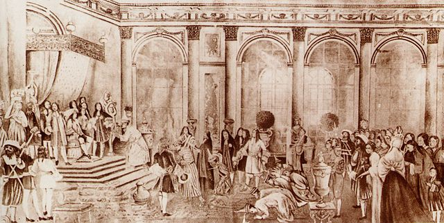 Kosa Pan presents King Narai's letter to King Louis. From Smithies, Siam and the Vatican in the Seventeenth Century. Original credited to National Archives of Thailand, wikimedia.org