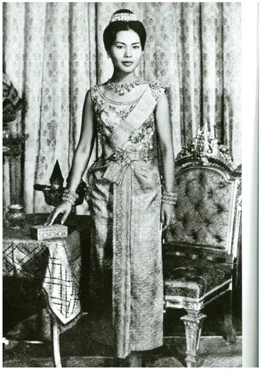 Queen Sirikit in Thai Dusit dress was photographed by King Bhumibol Adulyadej, around 1950