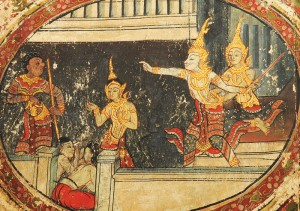 Detail of the murals of the Sang Thong Tales, Viharn Laikam at Wat Phra Singh, Chiang Mai, Thailand, (photo: ich.culture.co.th)