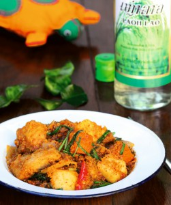 Fish curry with Lao whiskey from Laos (photo: Mango salad with fish from Cambodia (photo: Spring rolls with tumeric from Vietnam (photo: ©Christian Verlag / Heike Leistner)