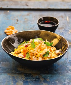 Mango salad with fish from Cambodia (photo: Spring rolls with tumeric from Vietnam (photo: Rice noodle soup with chicken from Vietnam (photo: ©Christian Verlag / Heike Leistner)