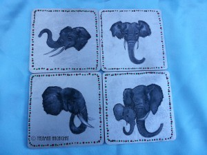 Coasters with elephant painting by Yasaman Haghighat