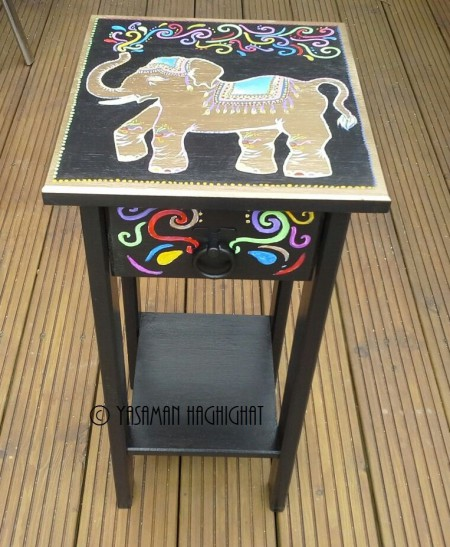 Side table with elephant painting by Yasaman Haghighat
