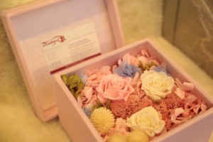 A nice Gift Box with beautifully arranged artificial flowers
