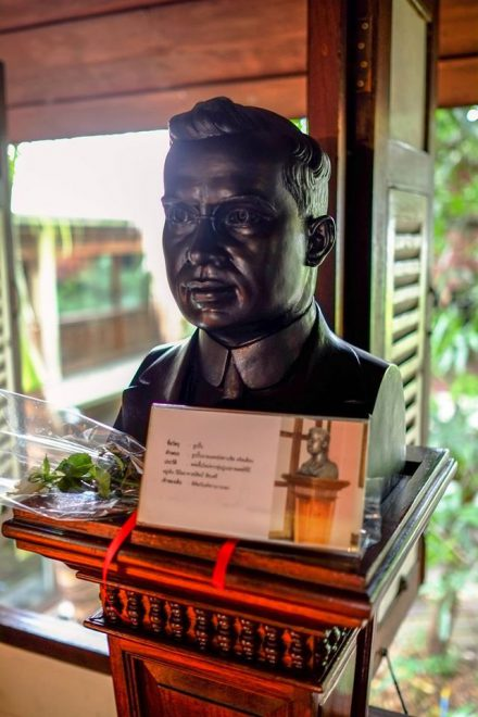 Dr. Francis Christian was the stepfather of Ms Waraporn Suravadee. This bust was created by Prof Silpa Bhirasr. *