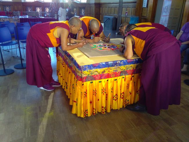 Tibetan Monks from Sera Je make a sand mandala at MARKK in Hamburg